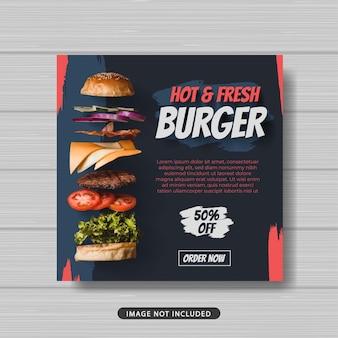 Banner del modello di post sui social media per la promozione della vendita di cibi caldi e freschi