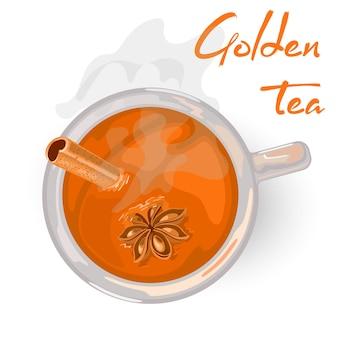 Bevanda calda dorata con chiodi di garofano per colazione o pomeriggio