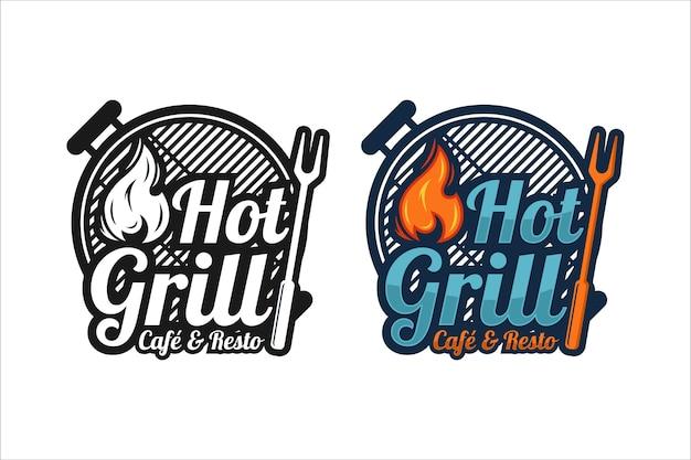 Logo di design premium hot grill cafe e resto