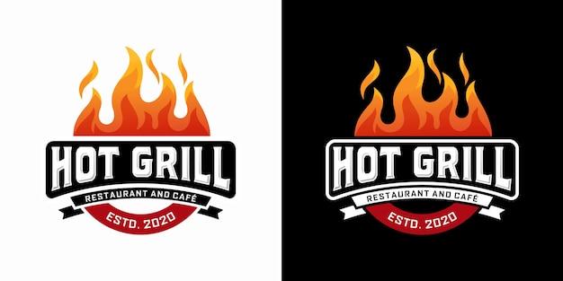Modello di progettazione di logo di hot grill