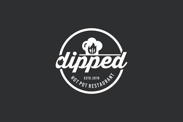Design del logo della griglia calda, logo del ristorante vintage