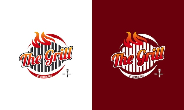 Hot grill logo template, barbecue grill, vintage barbeque label stamp logo design vector