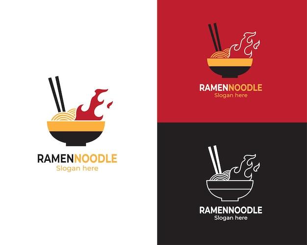 Logo di noodle ramen giapponese caldo