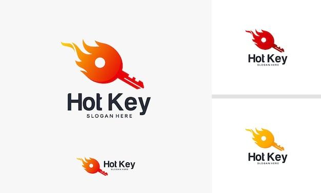Hot key logo design concept, fire key logo template design, fire logo design vector