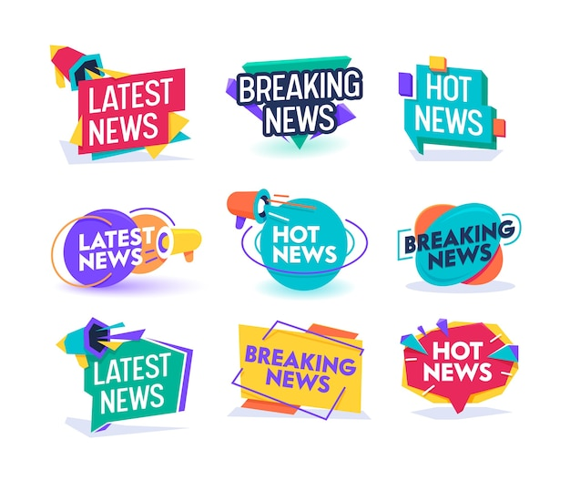 Hot latest news daily update badge template set