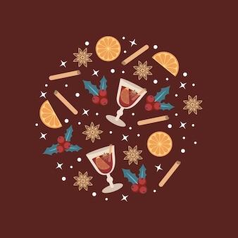Vin brulé caldo in un bicchiere ed elementi e spezie per un drink su uno sfondo bordeaux a forma di cerchio