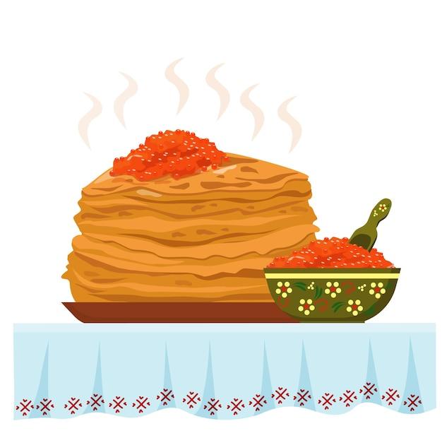 Frittelle calde con caviale rosso su una bella tovaglia. cibo tradizionale russo.