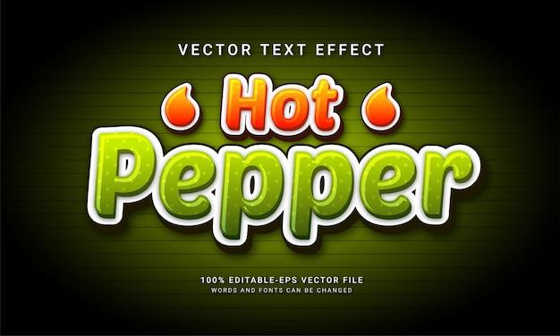 Effetto testo modificabile peperoncino con tema menu cibo piccante