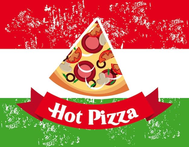 Design hot pizza su sfondo bandiera italiana