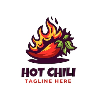 Modello di progettazione di logo di peperoncino rosso caldo