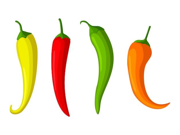 Peperoncini piccanti rossi, gialli e verdi, icona di paprika.