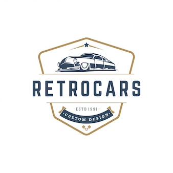 Stile vintage di hot rod car logo template element