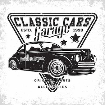 Design del logo del garage hot rod, emblema della riparazione e dell'organizzazione dei servizi di muscle car, emblema della tipografia retrò