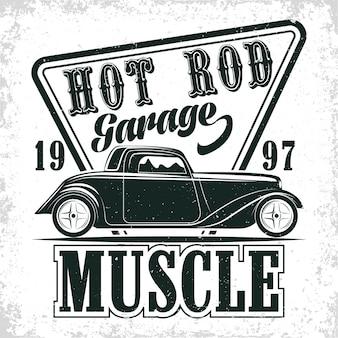 Design del logo del garage hot rod, emblema della riparazione e dell'organizzazione dei servizi di muscle car, francobolli di stampa di garage per auto retrò, emblema della tipografia hot rod