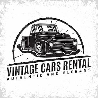 Logo del garage hot rod, emblema della riparazione di muscle car e dell'organizzazione del servizio, francobolli di stampa di garage per auto retrò, emblema di tipografia hot rod,