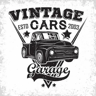 Logo del garage hot rod, emblema della riparazione e dell'organizzazione dei servizi di muscle car, francobolli di stampa di garage per auto retrò, emblema di tipografia hot rod,