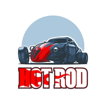 Logo hot rod con auto d'epoca.