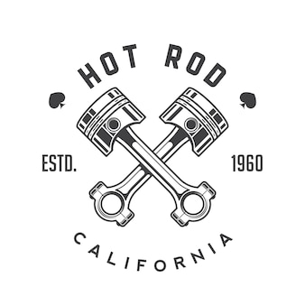 Emblema retrò hot rod, logo, badge.