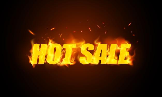 Banner di vendita calda. le fiamme ardenti realistiche bruciano le scintille roventi