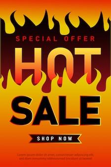 Progettazione del modello di banner di vendita calda, offerta speciale di vendita super. Vettore Premium