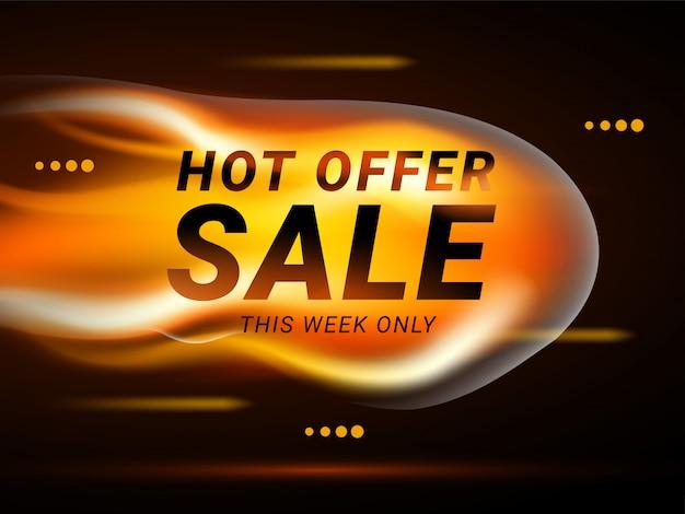 Concetto di banner modello di vendita calda fire burn. design della carta nera per un'offerta calda con il fuoco. layout poster pubblicitario con fiamma. illustrazione