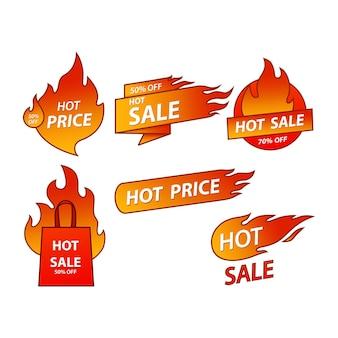 Disegni di adesivi di modelli di etichette di vendita calda con illustrazione vettoriale di fiamma