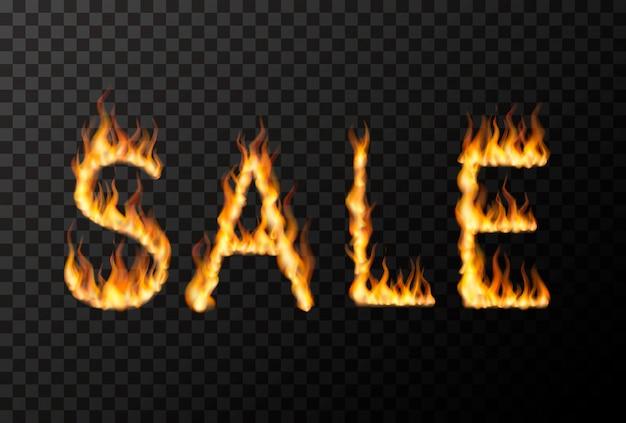 Frase di vendita calda fatta da fiamme di fuoco realistiche luminose su trasparente