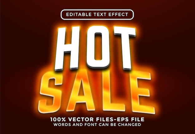 Testo di vendita calda. vettori premium effetto testo modificabile