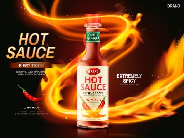 Annuncio salsa piccante con peperoncino rosso e striscia chiara accesa, sfondo rosso scuro