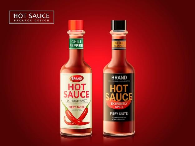 Pacchetto bottiglia di salsa piccante, sfondo rosso scuro