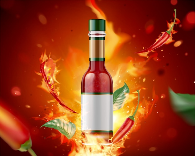 Prodotto di salsa piccante con fuoco ardente e peperoncino su sfondo rosso glitter, 3d