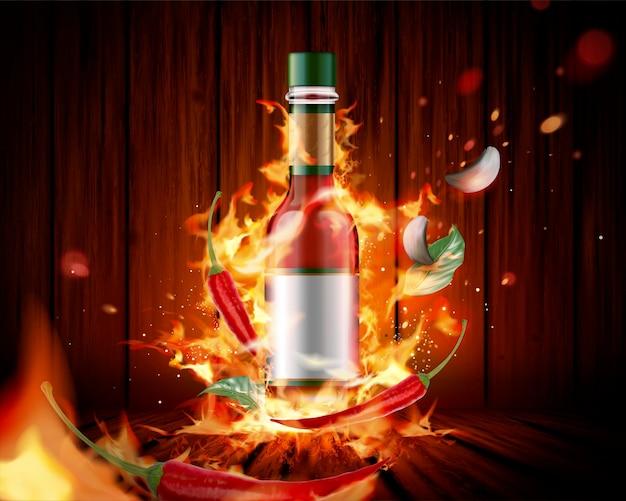Prodotto di salsa piccante con fuoco ardente e peperoncino su tavola di legno, 3d