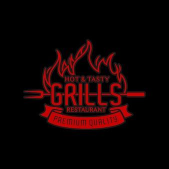 Hot steak house o ristorante di carne con ispirazione per il design del logo con fuoco ardente rosso