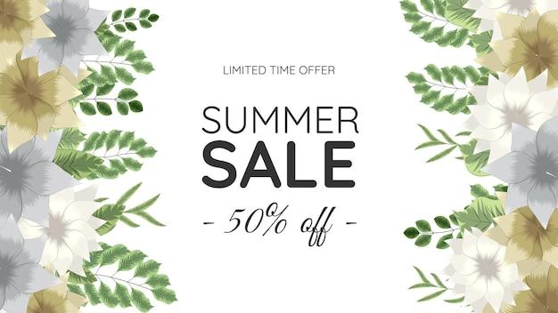 Banner di fiori floreali di vendita calda di estate per le vacanze di fine settimana di vacanza
