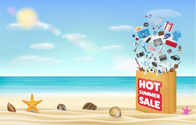 Vendita calda estate shopping bag su una spiaggia di sabbia di mare