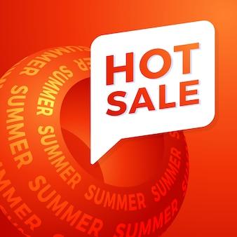 Banner di offerta speciale di vendita estiva calda per affari, promozione e pubblicità. illustrazione.