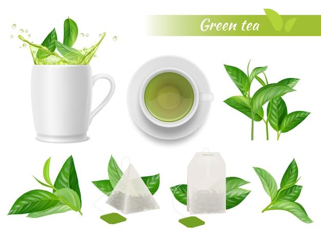 Servizio da tè caldo. foglie verdi, tazze, spruzzi d'acqua e etichette aromatiche di tè verde