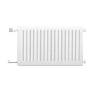 Il radiatore del sistema di riscaldamento dell'acqua calda con la manopola di controllo della temperatura ha isolato l'elemento sull'illustrazione realistica di vettore di immagine del fondo bianco