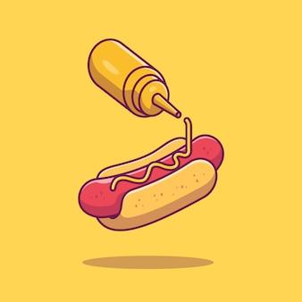 Illustrazione dell'icona della senape e dell'hot dog. bianco di concetto degli alimenti a rapida preparazione isolato