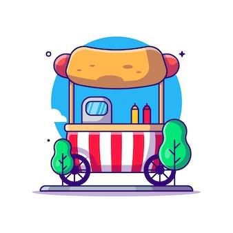 Hot dog stand sull'illustrazione del fumetto del parco di divertimenti
