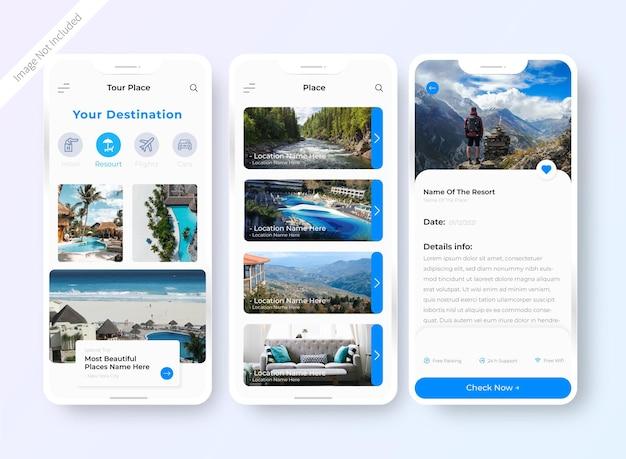 Schermata di progettazione dell'interfaccia utente dell'app per la prenotazione di hotel
