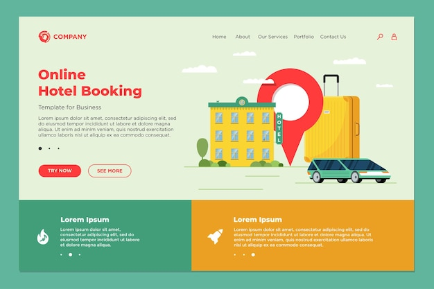 Servizio online di prenotazione di hotel e car sharing per il modello di pagina di destinazione del turismo turistico. web design di prenotazione del trasporto di appartamenti di viaggio. illustrazione vettoriale della valigia del bagaglio del motel e del perno di posizione