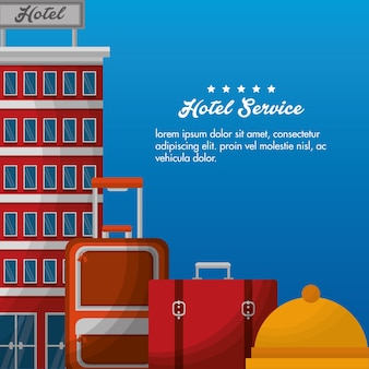 Hotel building suitcases bell vector illustration