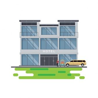 Costruzione dell'hotel con il servizio del fattorino dell'hotel e l'automobile delle limousine isolata su bianco.
