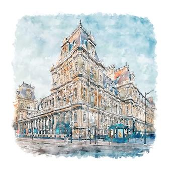 Illustrazione disegnata a mano di schizzo dell'acquerello di hotel de ville parigi francia