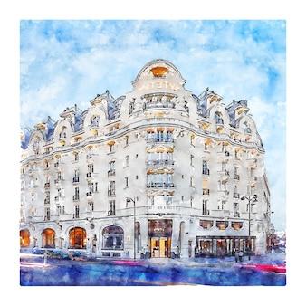 Illustrazione disegnata a mano di schizzo dell'acquerello di hotel lutetia parigi francia