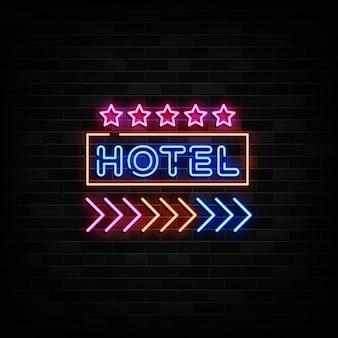 Insegna al neon dell'hotel. modello di disegno in stile neon Vettore Premium