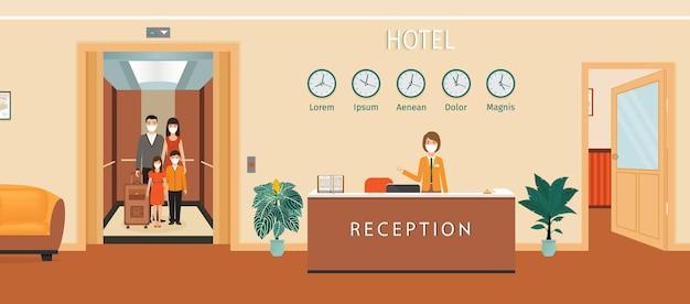 Bancone della reception dell'hotel con l'illustrazione dell'addetto alla reception