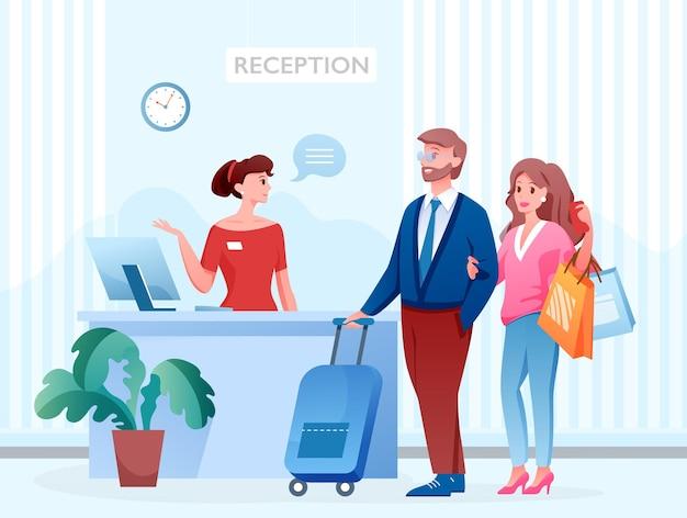 Hotel reception turista ospite coppia persone in piedi accanto alla receptionist, servizio di ospitalità