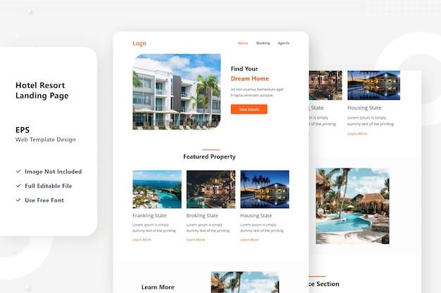 Design della pagina di destinazione web del resort dell'hotel